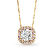 0.5Cts Colorless Diamond Halo Pendant Necklace Set in 18K  Rose Gold - £1,485.81 GBP