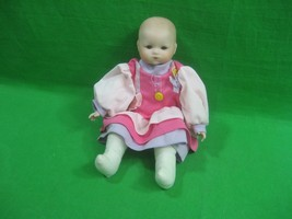 Vintage Porcelain Baby Doll with Cloth Body ~ Pink Dress ~ 11.5 Inches - $18.66
