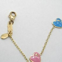 18K YELLOW GOLD BRACELET FOR KIDS WITH ENAMELLED HEART LOVE MADE IN ITALY  image 3