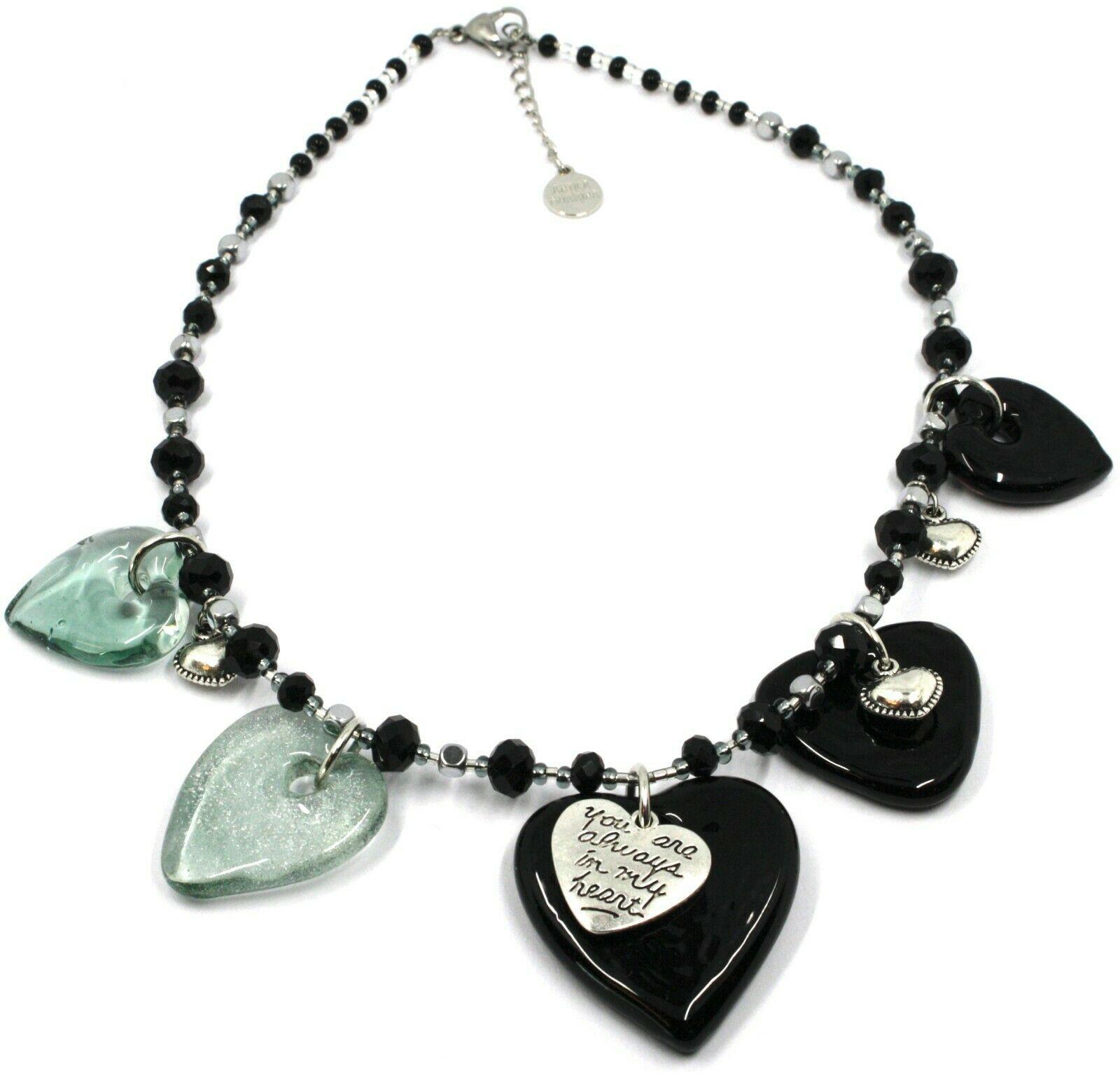 Necklace Antica Murrina Venezia, COB59A14, 5 Hearts Glass Black Hanging