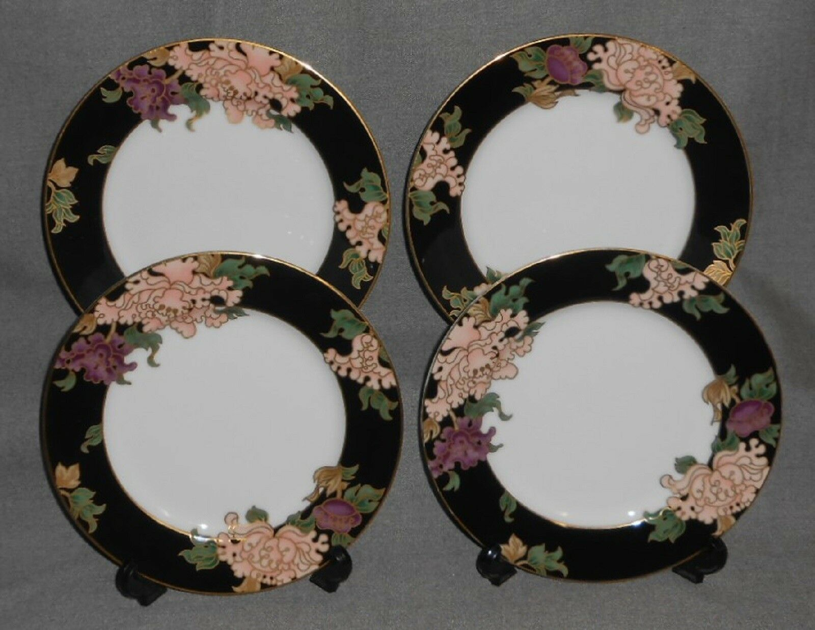 Primary image for Set (4) Fitz & Floyd CLOISONNE PEONY PATTERN Salad Plates MADE IN  JAPAN