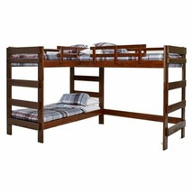 Brown Finish L-Shaped Wooden Twin Over Twin Triple Bunk Beds Sleeps 3 Kids - $1,106.72