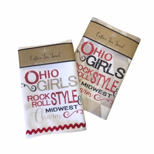 Ohio Girls Rock & Roll Style & Midwest Charm Gift Set of Two Dish Towels