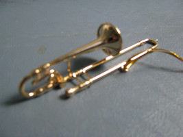 Brass Trombone Musical  Instrument Ornament   detailed Realistic Orchestra - $12.86