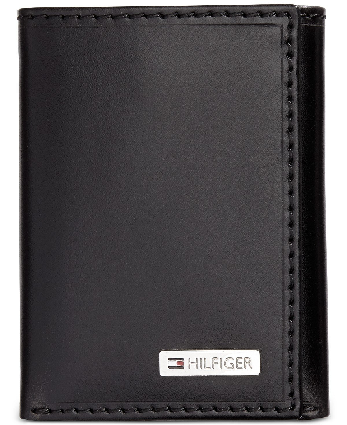 Tommy Hilfiger Men's Leather Credit Card Id Wallet Trifold Black 31TL110005