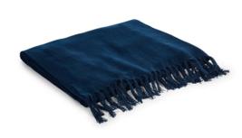"RALPH LAUREN RUE VANEAU EVERLY ""54'x72"" SOLID NAVY/BLUE THROW BLANKET $2... - $150.47"