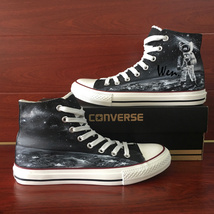 Spaceman Universe Planet Hand Painted Shoes Black Canvas Converse Sneakers High - $155.00