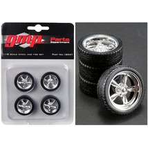 5-Spoke Chrome Custom Street Fighter Wheels and Tires Set of 4 pieces 1/... - $24.24
