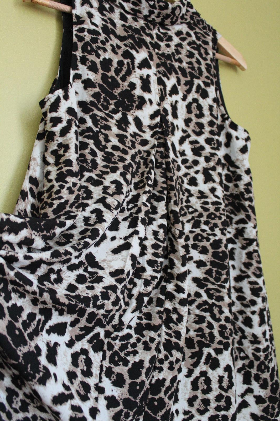 NWT Adrianna Papell Leopard Cheetah Print Long Tunic Top Swim Cover Up Dress 6