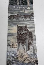 Endangered Species Grey Wolf Pack Winter Tie Necktie Blue Silver White Silk - $14.84