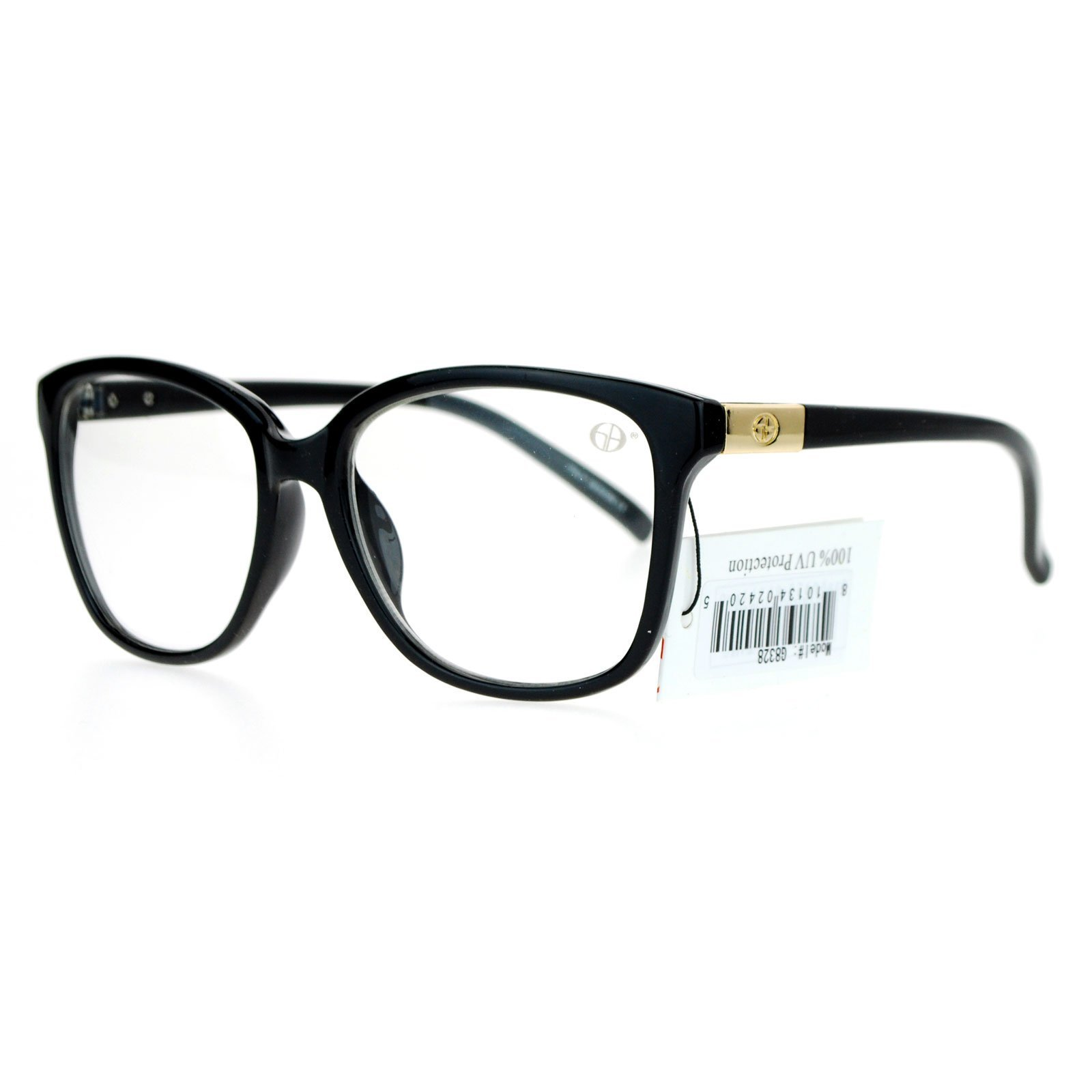 Golden Bridge Nerdy Designer Fashion Clear Lens Eye Glasses Black Gold