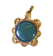 cute Green Onyx Gold Plated Green Pendant Natural supplies US gift - $12.86