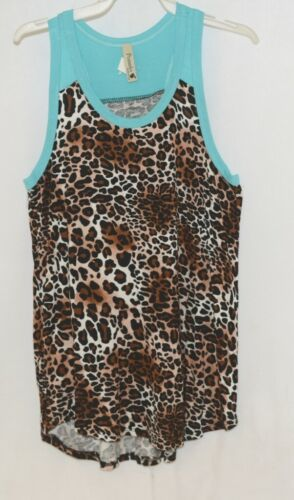 Pomelo Girls Tunic Aqua brown White black Leopard Print Size Large