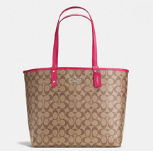 Coach Reversible City In Signature F 36658 Nwt Bright Pink Tote Bag - $130.66