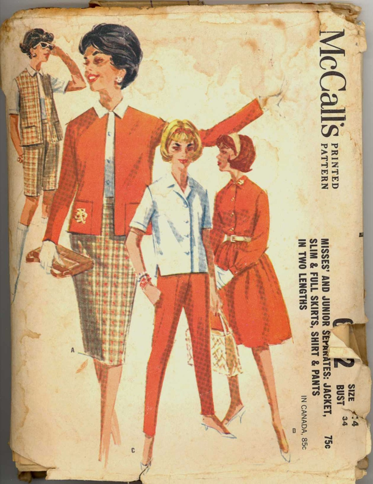 60s Size 14 Bust 34 Jacket Shirt Pant Skirt Shorts McCalls 6202 Pattern Vintage