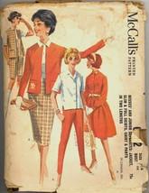 60s Size 14 Bust 34 Jacket Shirt Pant Skirt Shorts McCalls 6202 Pattern ... - $7.99