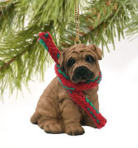 SHAR PEI DOG CHRISTMAS ORNAMENT HOLIDAY Figurine Scarf - $9.50