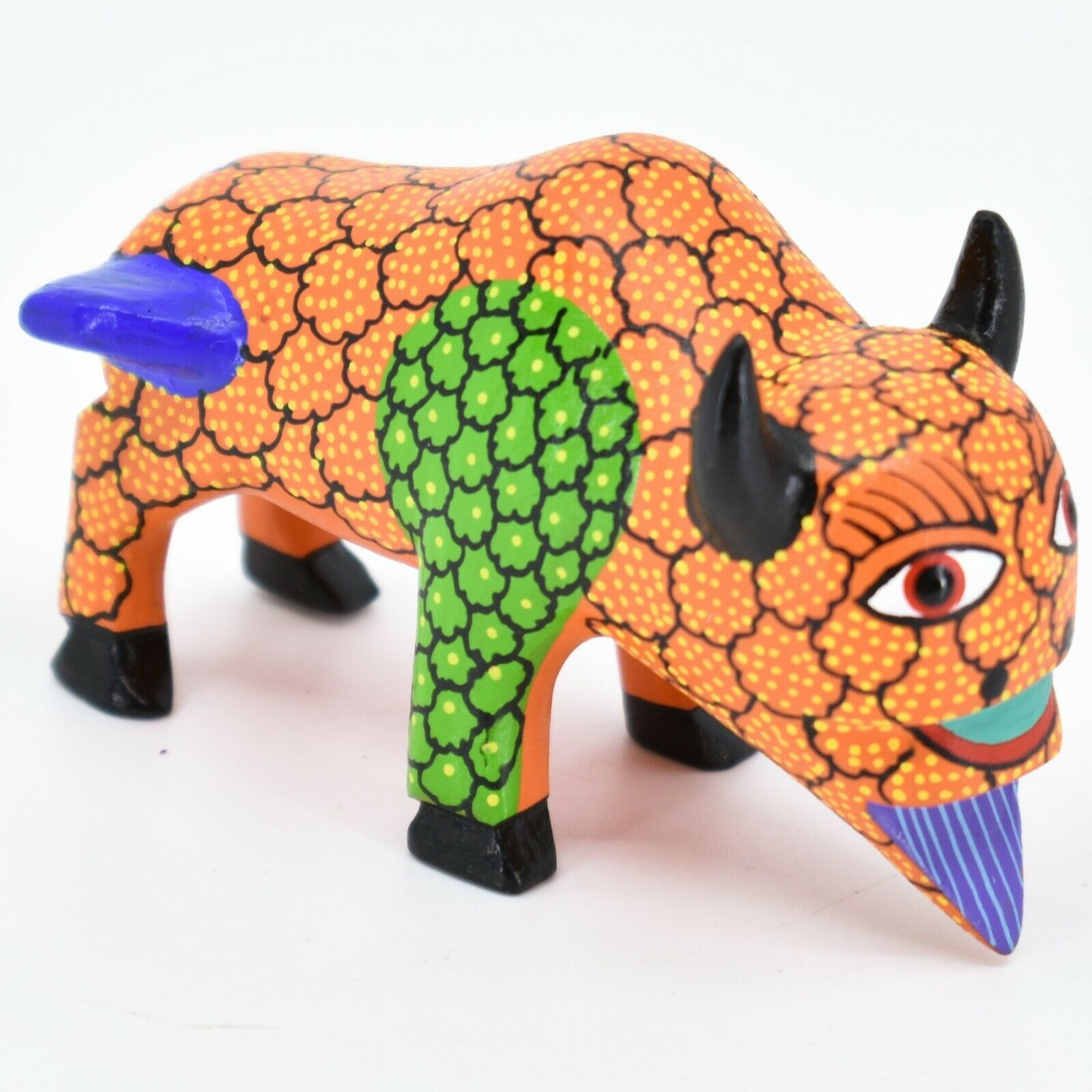 Handmade Alebrijes Oaxacan Wood Carved Painted Folk Art Buffalo Figurine