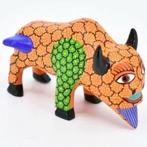Handmade Alebrijes Oaxacan Wood Carved Painted Folk Art Buffalo Figurine image 1