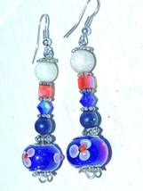Excellent Vintage Blue Wedding Cake Glass Dangle 925 Sterling Silver Earrings - $12.16