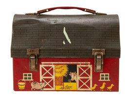 FREE SHIP: Vintage Painted Lunchbox - Farm Animals in Barn - $46.75