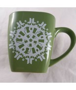 Starbucks Square Christmas Snowflake Coffee Mugs 2004 Red & Green set of... - $23.75
