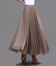 Taupe Maxi Chiffon Skirt Women Chiffon Maxi Skirts High Waist Bridesmaid Skirts image 2