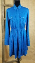 Maeve Anthropologie women small blue dress roll tab sleeve buttons front - $36.49
