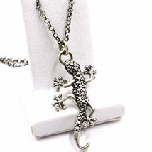 Halskette und Anhänger, 925 Silber, Brüniert Satiniert, Gecko, Kette Rolo - $80.52