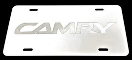 Toyota Camry 2 Car Tag Diamond Etched on White Aluminum License Plate