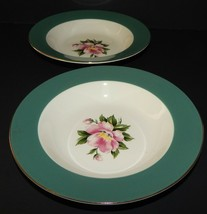 2 Homer Laughlin Century Service Empire Green Rimmed Soup Bowl Alliance Ohio USA - $25.73