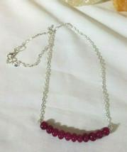 Necklace  with  Ruby Gemstones Natural Gemstone Sterling Sliver - $21.61