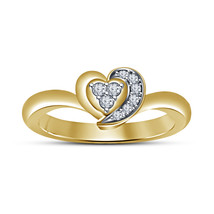 14k Yellow Gold Finish 925 Silver Round Cut White Sim Diamound Heart Shape Ring - $49.70