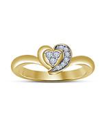 14k Yellow Gold Finish 925 Silver Round Cut White Sim Diamound Heart Sha... - $49.70