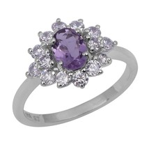 Cluster Amethyst And White Topaz 925 Sterling Silver Jewelry Ring Sz 7 S... - $18.69