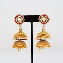 HANDMADE SILK THREAD MULTI LAYERED GOLDEN BEAD JHUMKAS WITH STUDS - $6.93