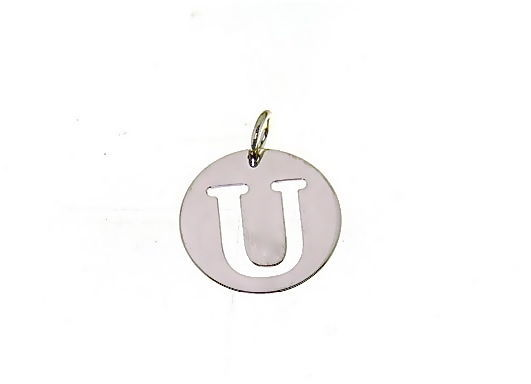 18K WHITE GOLD ROUND MEDAL WITH INITIAL U LETTER U MADE IN ITALY DIAMETER 0.5 IN