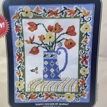 Poppy Pitcher By Marna Hill DMC Needlepoint Canvas NC006 8 X 10 - $14.16