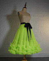 Copen Blue Layered Midi Tulle Skirt Plus Size A-line Layered Puffy Midi Skirt  image 12