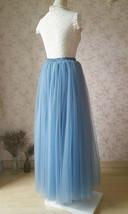 DUSTY BLUE Tulle Maxi Skirt High Waist Bridesmaid Tulle Skirt Blue Wedding Skirt image 11