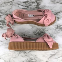 NEW Puma Womens Rihanna Pink Fenty Bandana Leather Creeper Flats Sandals 7 - £63.35 GBP