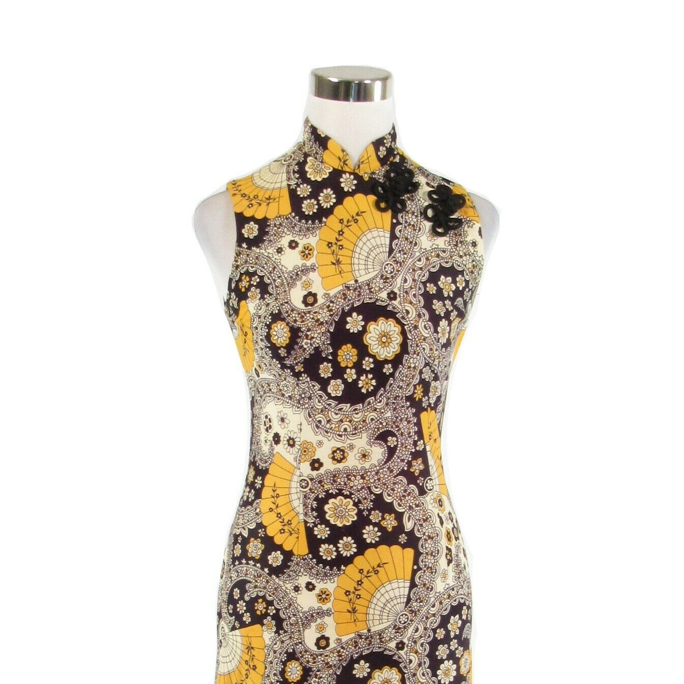 Midnight blue yellow paisley sleeveless vintage maxi dress S image 2