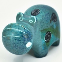 Crafts Caravan Soapstone Speckled Blue Hippopotamus Hippo Figurine Made Kenya image 2