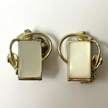 Coro Thermoset Clip On Earrings Leaf Leaves White Rectangular Vintage Si... - $9.84