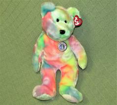 """TY BEANIE BUDDIES BB BEAR WITH TAG TYE DYE BIRTHDAY TEDDY 14"""" 2000 GREEN... - $9.50"""