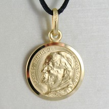 SOLID 18K YELLOW GOLD MEDAL, HOLY POPE JOHANNES PAULUS II, SAINT, 15 mm DIAMETER image 1