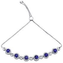 Sterling Silver 3.75 CTW Created Blue Sapphire & CZ Bolo Bracelet - $134.99