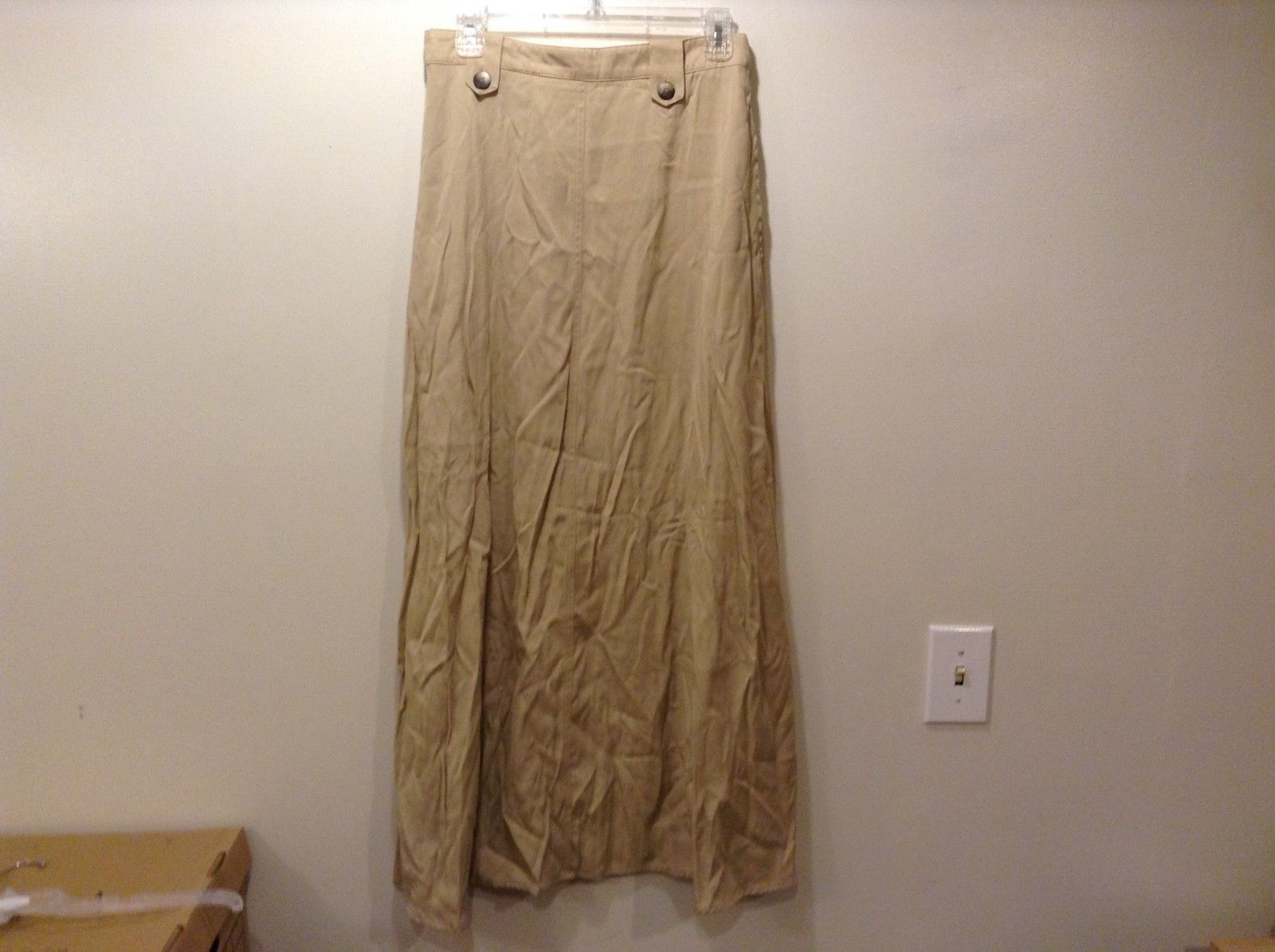 Coldwater Creek Brown/Khaki A-Shape Long Skirt Sz 12