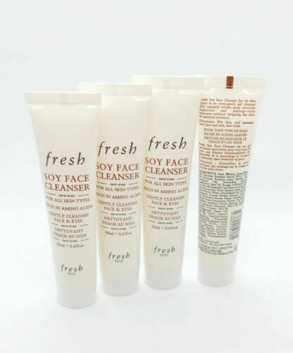 Primary image for Lot of 4 NEW Fresh Soy Face Cleanser Face & Eyes Makeup 0.67oz / 20ml Travel Sz