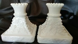 Vintage Pair Of Westmoreland Milk Glass Grape Motif Candleholders For Tapers - $22.00